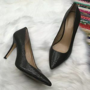 Ann Taylor Snake Embossed Pumps 9 Green Leather